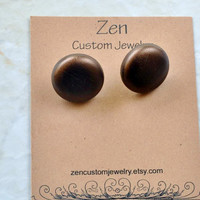 Button Earrings, Leather Earrings, Fabric Button Earrings, Copper Studs, Leather Jewelry