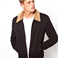 ASOS Bomber Jacket With Removable Borg Collar