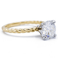 Round Moissanite Two-tone 14K White Gold 4 Prong Peg and Yellow Gold Braided Rope Solitaire Ring