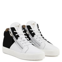 Giuseppe Zanotti Gz Double High White Calfskin Leather And Black Suede Mid-top