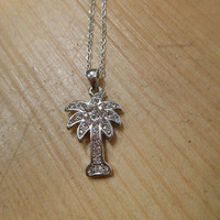 Silver Rhinestone Palm Tree Necklace   Candy's Cottage