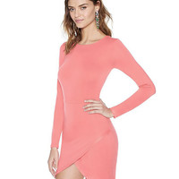 Pink Long Sleeve Wrap Bodycon Dress
