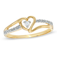 Heart-Shaped Diamond Accent Ring in 10K Gold - View All Rings - Zales