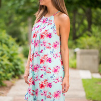 Swoon For Blooms Dress, Teal-Pink