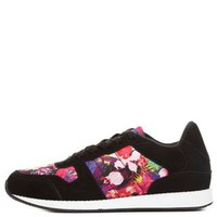 Pink Combo Tropical Print Lace-Up Sneakers by Charlotte Russe