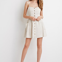 Buttoned Linen-Blend Dress