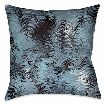 Hypnotic Blue Marble Outdoor Decorative Pillow