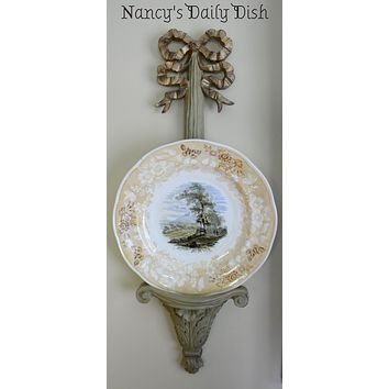 Antique'd Gold & Green Hand Finished French Ribbon Wall Sconce Plate Holder Corbel