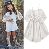 Toddler Kids Baby Big Girls Child Lace White Dress Princess Party Pageant Holiday Cute Shoulderless Dresses