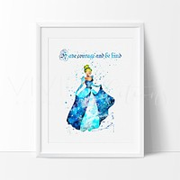 Cinderella 2 Watercolor Art Print