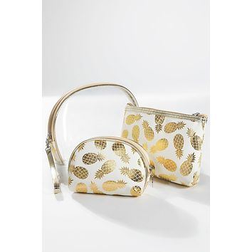 Clear and Metallic Pineapple Print Three Piece Pouch Set