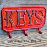 Cast Iron KEYS Hanger/ Bright Red Key Rack/ Bright Fun Wall Hook/ Shabby Chic Decor/ Painted Distressed Metal Holder/ Beach Cottage