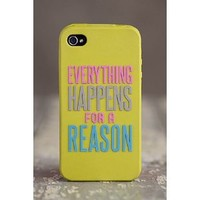"""Trendy Lime Green Natural Life """"Everything Happens For A Reason"""" Words of Wisdom Motif iPhone Cover Phone Case 4/4S"""