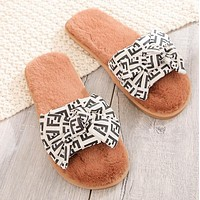 FENDI Autumn Winter Women Casual Bowknot Wool Flat Sandals Slippers Shoes White