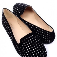BLACK FAUX SUEDE STUDDED ROUND CLOSED TOE LOAFER FLATS
