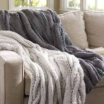 Chunky Cable Handknit Throw