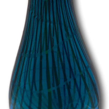 Murano Style Heavy & Large Vintage Mid Century Modern Blue Glass Vase