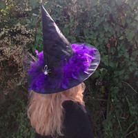 Glamorous Sparkly Witch Hat with Black Net Bow, Diamanté Spider Brooch and Purple Feathers