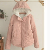 Hooded cotton-padded jacket to add more wool coat Pink