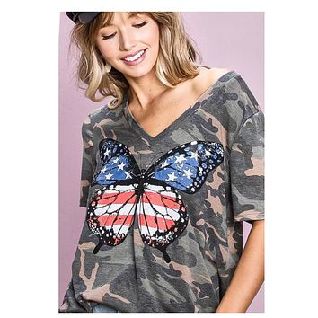 Adorable American Flag Butterfly V Neck Camouflage Top