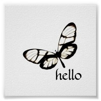 butterfly square poster hello in black and white
