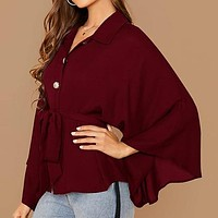 Burgundy Kimono Sleeve Gold Button Belted Shirt Blouse Women Solid Casual Oversized Tops and Blouses