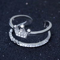 Fashion double-deck crown 925 sterling silver ring,a perfect gift