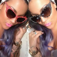 Retro Vintage Style Polka Dot Cat Eye Sunglasses Hollywood 50s/60s