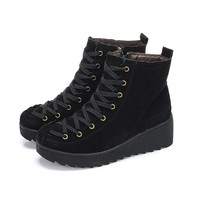 Nubuck Leather Wedge Snow Boots