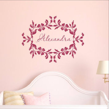 Floral Frame With Name Vinyl Wall Decal  22534
