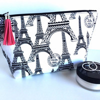 Large Cosmetic Bag, Paris Makeup Bag, Paris Cosmetic Bag, Large Zipper Pouch, Black Makeup Bag