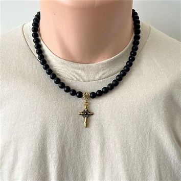Mens Matte Black Onyx and Gold Cross Beaded Necklace