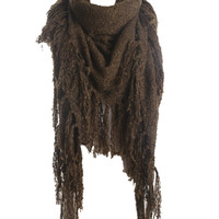 Army Green Oversized Fringe Detail Scarf