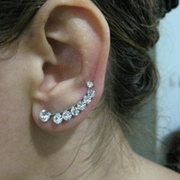 Ear Sweep Wrap - Cuff Earring with Swarovsky Gold Pl. - Large- Nr. 6
