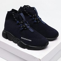 Balenciaga Hot Sale Color Block Knitted High Top Socks Shoes Sneakers Dark Blue
