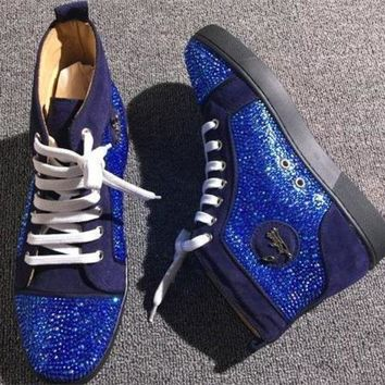 DCCK2 Cl Christian Louboutin Rhinestone Style #1970 Sneakers Fashion Shoes