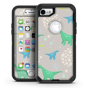 Curious Green and Blue Dinosaurs - iPhone 7 or 7 Plus OtterBox Defender Case Skin Decal Kit