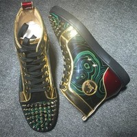 Cl Christian Louboutin Lou Spikes Style #2189 Sneakers Fashion Shoes - Best Deal Online