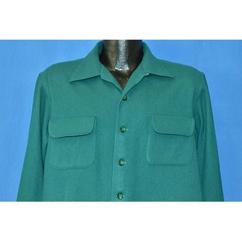 50s McGregor Green Wool Deadstock Button Down Shirt Large