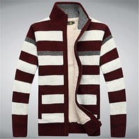Winter Fleece Thicken Sweater Men 70% Wool Stripe Mens Wool Cardigan sweaters Brand  size M -3XL