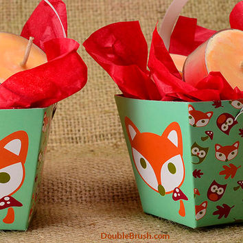 2 Fox Gift Baskets Cute Mini Woodland Gift with 4 Pumpkin Spice Scented Soy Tea Lights in each Foxy Gift Basket Autumn Fall Woodland Gift