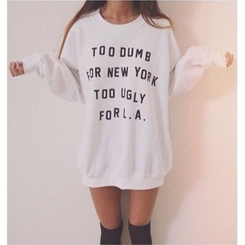 Punk hip hop fun autumn and winter letters printed on white sweater men and women