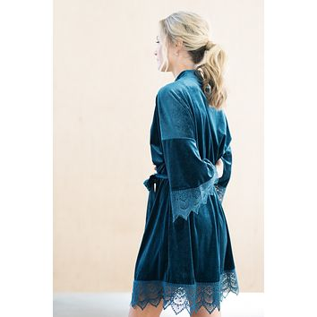 Dusty Blue Velvet and Lace Bridal Robe