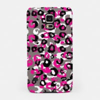 Black Gray White and Pink Leopard Samsung Case, Live Heroes