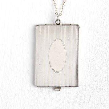 Art Deco Locket - Antique 1920s Era Sterling Silver Rectangular Shaped Pendant Necklace - Vintage Unisex Statement Photograph Jewelry