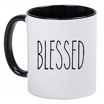 Blessed Farmhouse Mug Rae Dunn Inspired Coffee Cup, Gift for Her, Farmhouse Decor, Gift for Women, Hot Chocolate, 11 Ounce Ceramic Mug