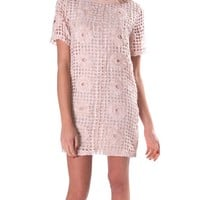 La Fleur Shift Dress - Pink Lace