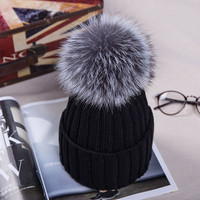 2017 Knitted Hats for The Winter with 15CM Silver Fox Fur Ball Tops Women Acrylic Russian Cap Beanies Casual Women's Fur Hat