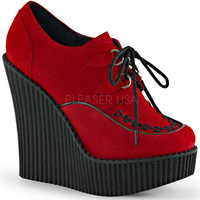 Red Wedge Platform Lace-Up Vegan Creepers