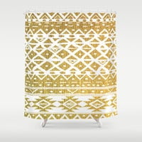 GOLDEN TRIBAL Shower Curtain by Nika